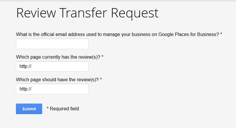 Google Review Transfer Form Screenshot